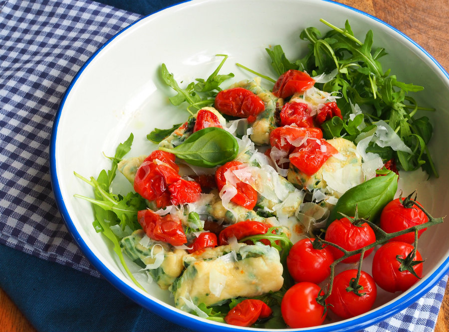 ricotta met gnocchi en spinazie