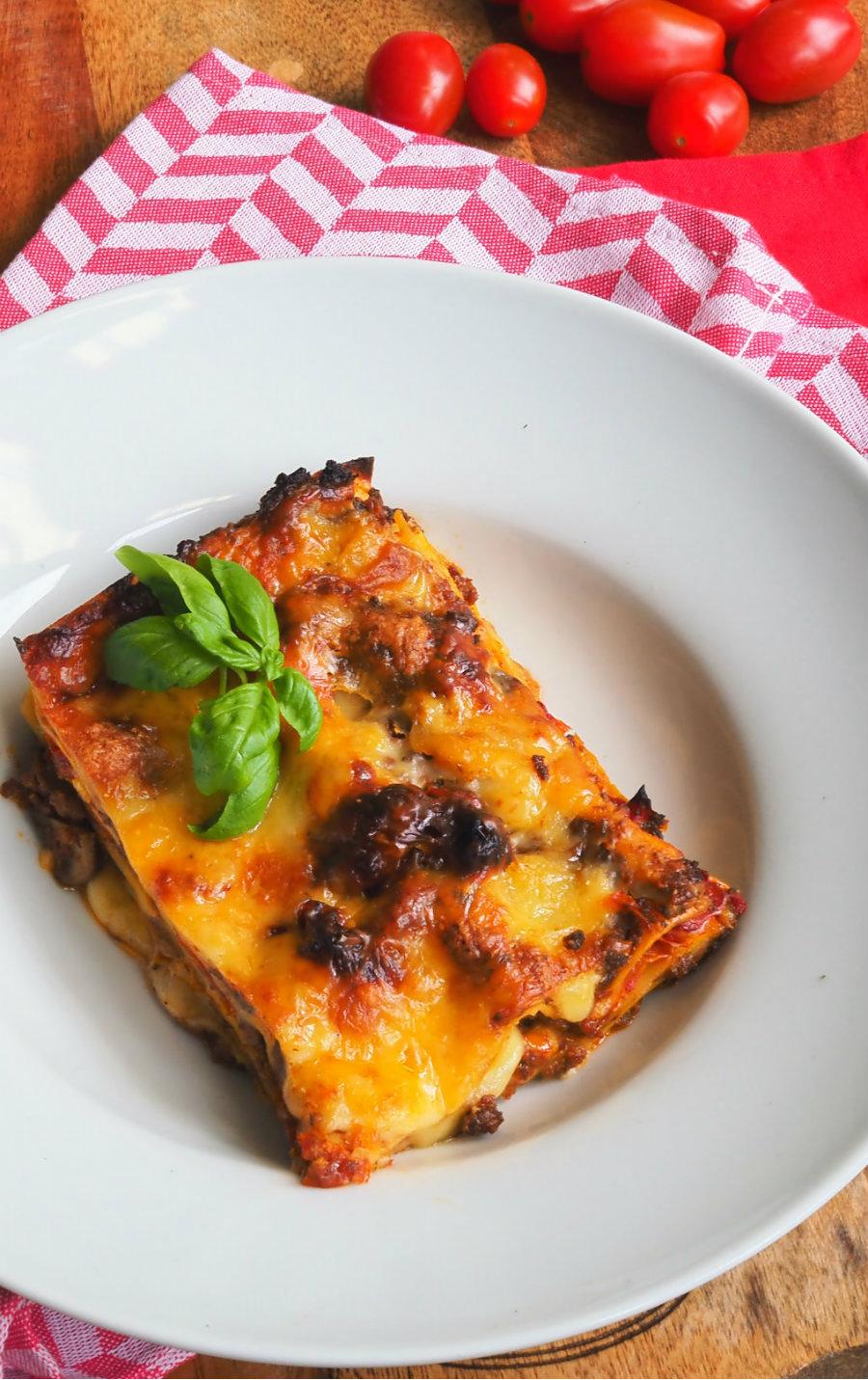 Lasagne op bord