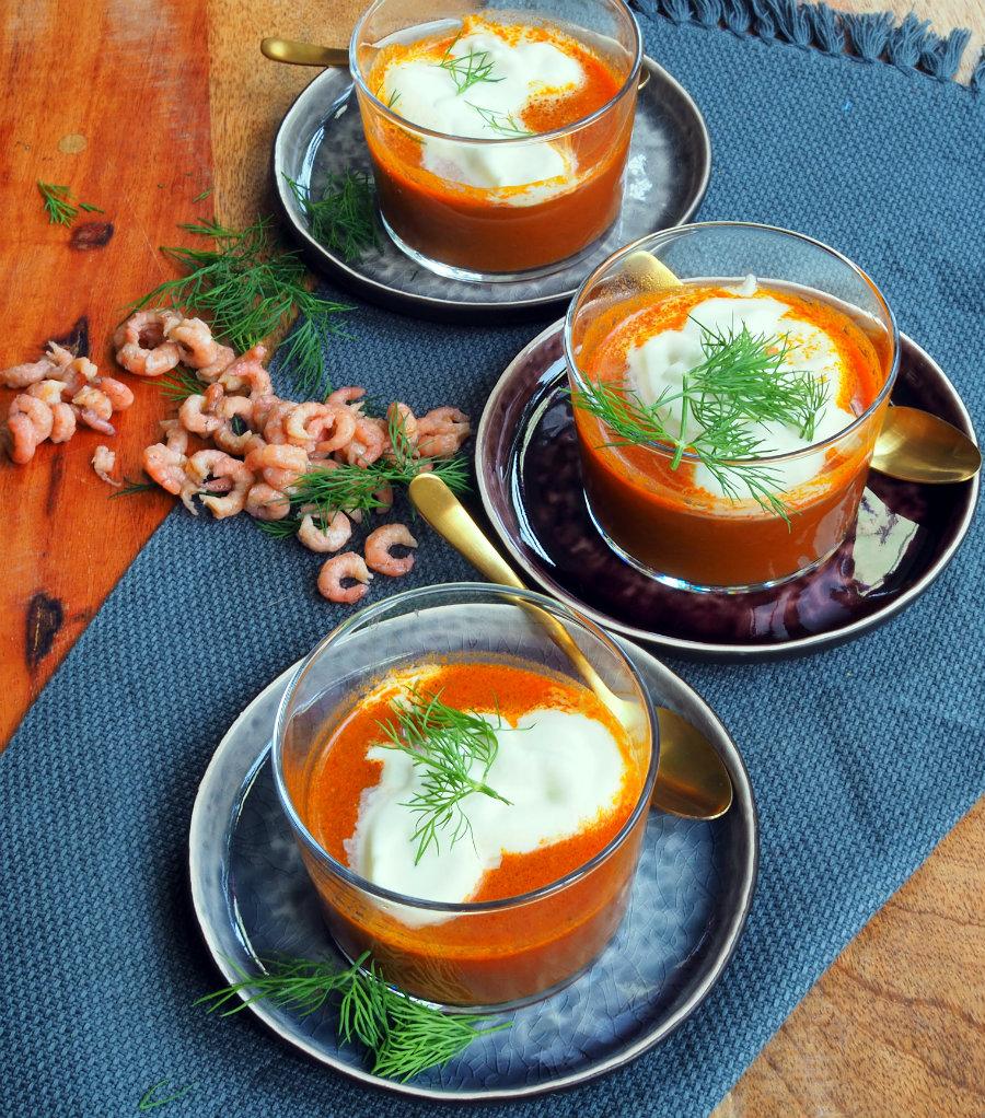soep van garnalen in een glaasje